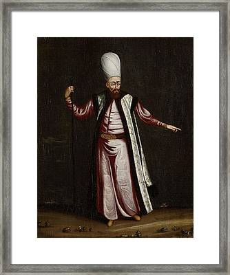 The Capoudgi Bachi, Grand-master Of The Seraglio, Jean Baptiste Vanmour, 1700 - 1737 Framed Print