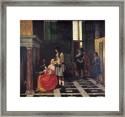 The Card Players Framed Print by  Pieter de Hooch
