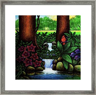 Framed Print featuring the painting The Cardinal by Michael Frank