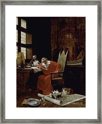 The Cardinal's Leisure  Framed Print by Charles Edouard Delort