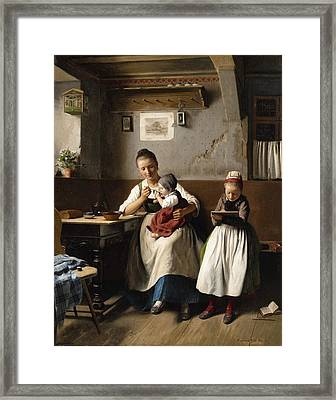 The Caring Mother Framed Print by Franz Meyerheim