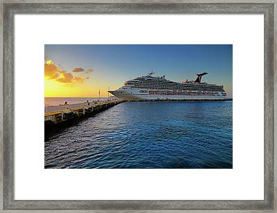 Framed Print featuring the photograph The Carnival Freedom At Sunset - Cozumel - Mexico by Jason Politte