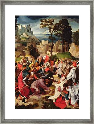 The Carrying Of The Cross Framed Print by Master of the Repudiation of Hagar