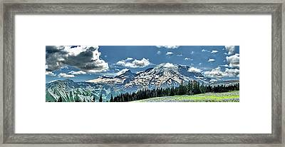 The Cascade Mountains And Mt. Rainier Framed Print by Ansel Price
