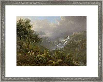 The Cascades At Tivoli, With A Storm Approaching Framed Print