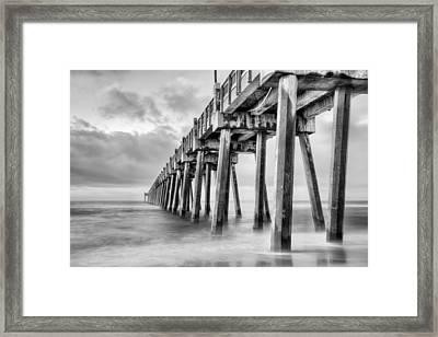 The Casino Beach Pier In Black And White Framed Print