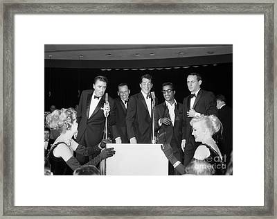 The Cast Of Ocean's 11 And Members Of The Rat Pack. Framed Print by The Titanic Project
