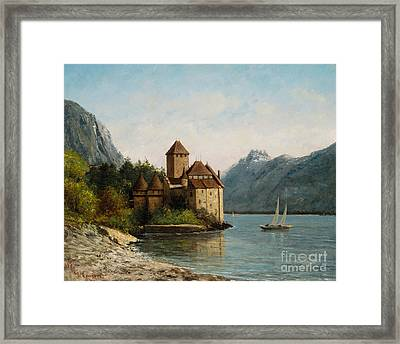 The Castle Of Chillon Evening Framed Print by Gustave Courbet