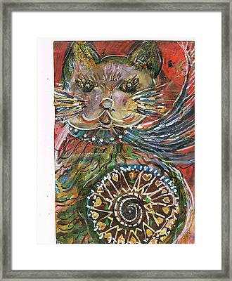 The Cat And The Wheel Framed Print by Anne-Elizabeth Whiteway