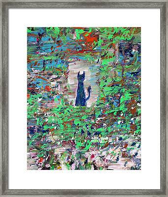 Framed Print featuring the painting The Cat In The Garden by Fabrizio Cassetta