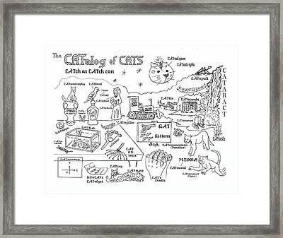 The Catalog Of Cats Framed Print by Hank Roll