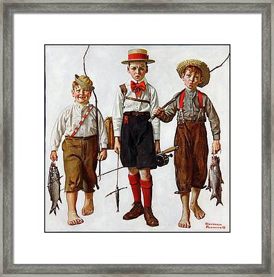 The Catch Framed Print by Norman Rockwell