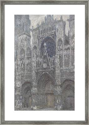 The Cathedral In Rouen The Portal Grey Weather Framed Print