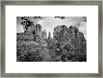 The Cathedral - Sedona Arizona - Red Rock Crossing - Black And White  Framed Print by Gregory Ballos
