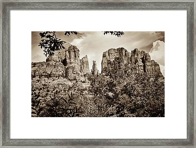 The Cathedral - Sedona Arizona - Red Rock Crossing - Sepia Framed Print by Gregory Ballos