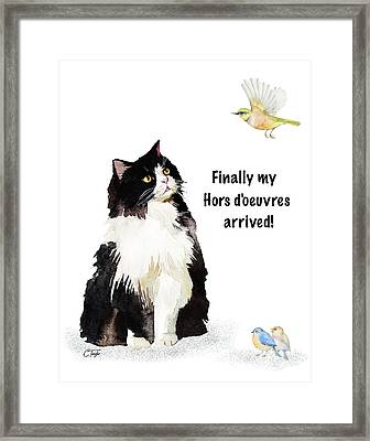Framed Print featuring the painting The Cat's Hors D'oeuvres by Colleen Taylor