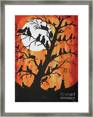 The Cats On Night Watch Framed Print
