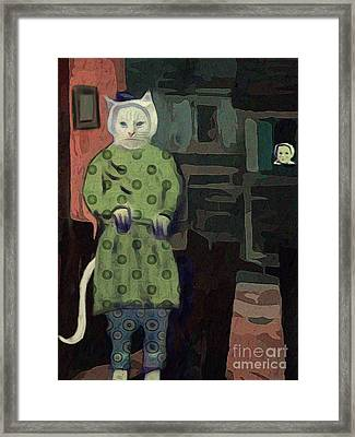 Framed Print featuring the digital art The Cat's Pajamas by Alexis Rotella