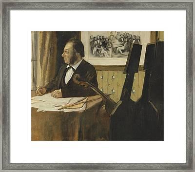 The Cellist Pilet 1868 - 1869 Framed Print by Edgar Degas