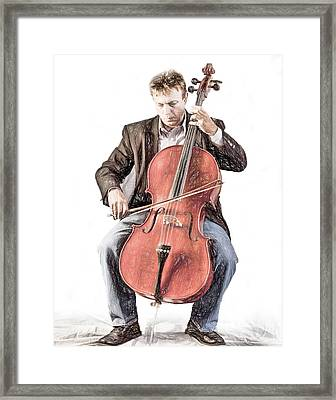 Framed Print featuring the photograph The Cello Player In Sketch by David and Carol Kelly
