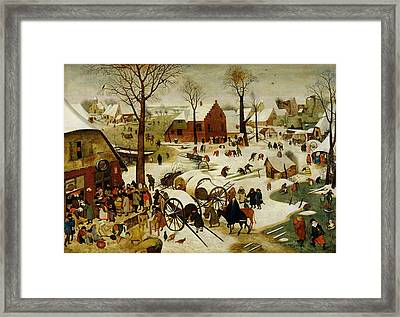 The Census At Bethlehem Framed Print by Pieter the Younger Brueghel