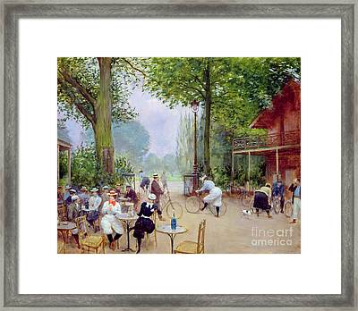 The Chalet Du Cycle In The Bois De Boulogne Framed Print by Jean Beraud