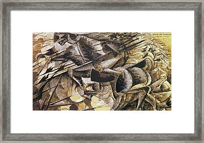 The Charge Of The Lancers Framed Print by Umberto Boccioni