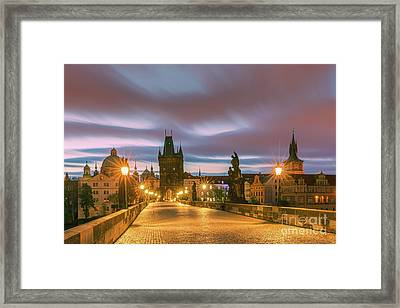 The Charles Bridge In Prague At Sunrise Framed Print