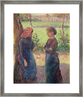 The Chat Framed Print by Camille Pissarro