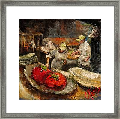 The Chefs Table At Hot And Hot Framed Print by Carole Foret