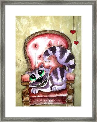 The Cheshire Cat - Lovely Sofa Framed Print by Lucia Stewart