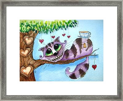 The Cheshire Cat - Tea Anyone Framed Print by Lucia Stewart