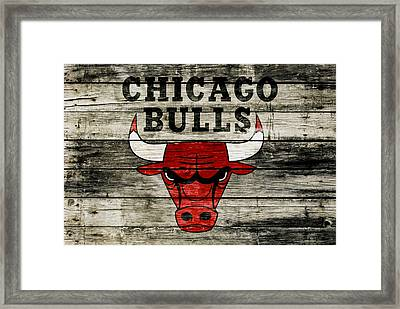 The Chicago Bulls Wood Art Framed Print