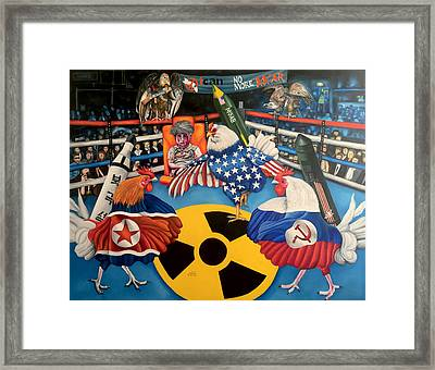 The Chickens Fight Framed Print