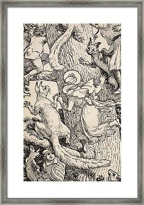 The Children Climbed The Christmas Tree With Animals And All Framed Print by Walter Crane