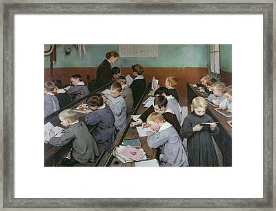 The Children's Class Framed Print by Henri Jules Jean Geoffroy