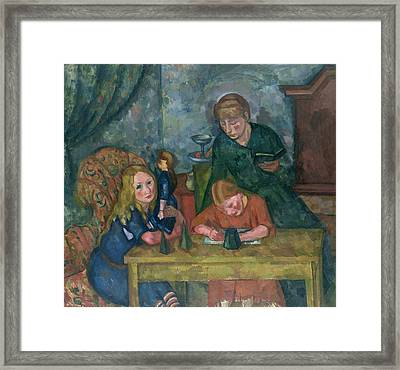 The Children's Parlour Framed Print by Fritz Friedrichs