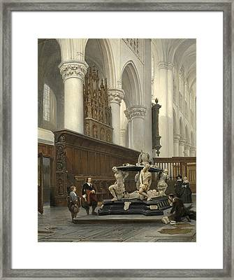 The Choir Of The Church Of Our Lady In Breda With The Tomb Of Engelbert II Of Nassau Framed Print