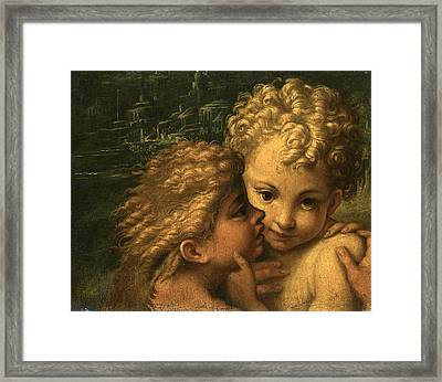 The Christ Child And The Infant Saint John The Baptist Framed Print by Follower of Parmigianino