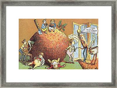 The Christmas Pudding A Victorian Christmas Card  Framed Print