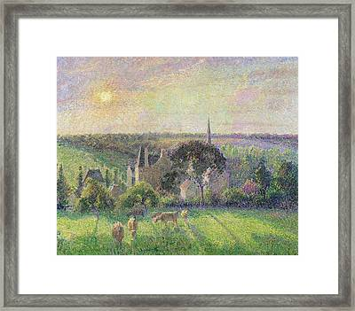 The Church And Farm Of Eragny Framed Print by Camille Pissarro