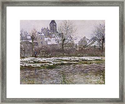 The Church At Vetheuil Under Snow Framed Print