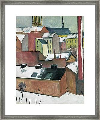 The Church Of St Mary In Bonn In Snow Framed Print by August Macke