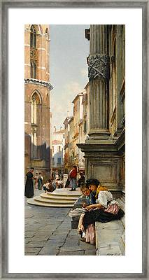 The Church Of The Frari And School Of San Rocco, Venice Framed Print by Henry Woods
