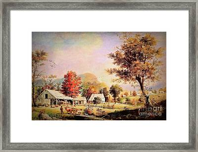 Framed Print featuring the painting The Cider Press - After Durrie by Lianne Schneider