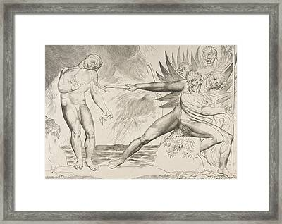 The Circle Of Corrupt Officials, The Devils Tormenting Ciampolo Framed Print by William Blake