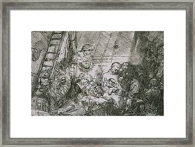 The Circumcision In The Stable Framed Print