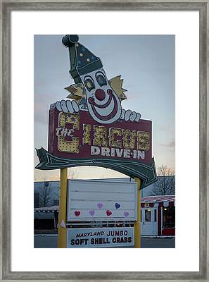 Framed Print featuring the photograph The Circus Drive In Sign Wall Township Nj by Terry DeLuco