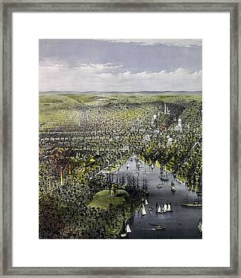 The City Of Baltimore, Circa 1880 Framed Print by Currier and Ives