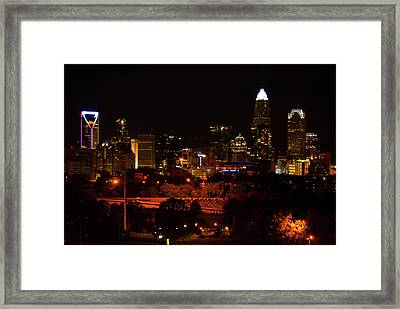 Framed Print featuring the digital art The City Of Charlotte Nc At Night by Chris Flees